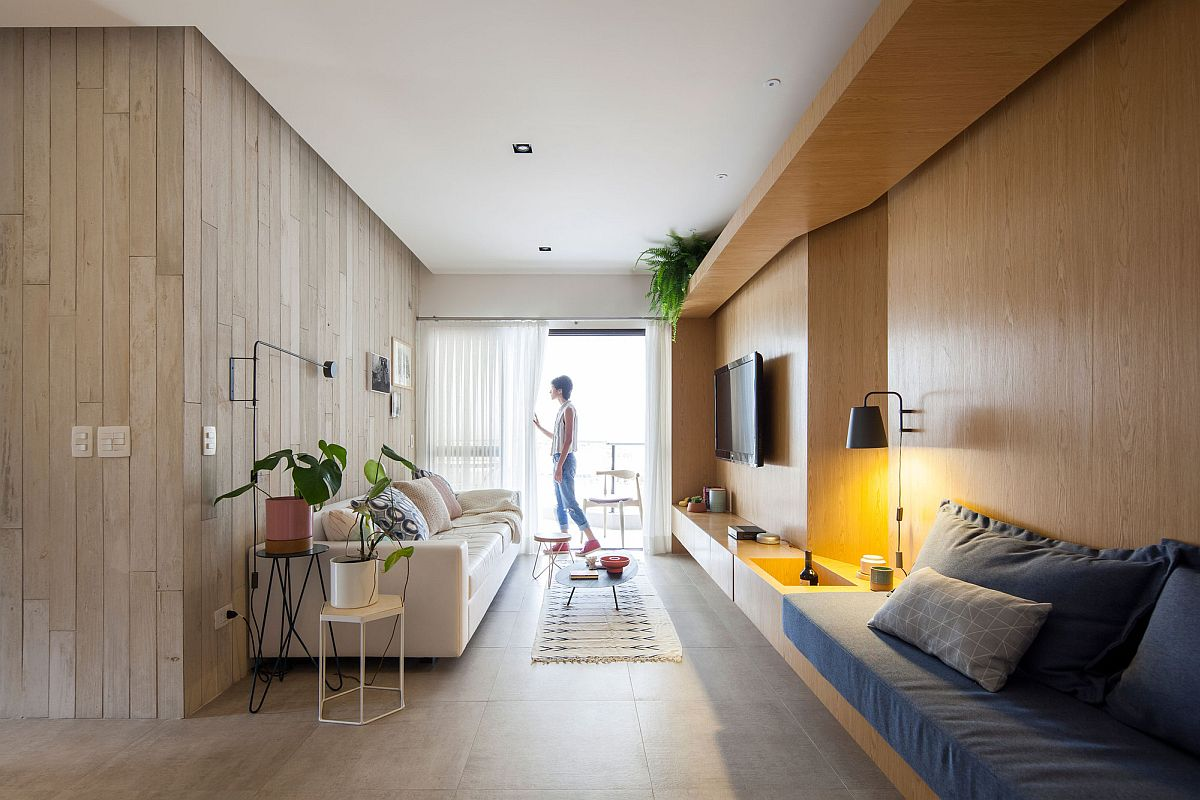 Custom wooden furniture built into the walls of the home
