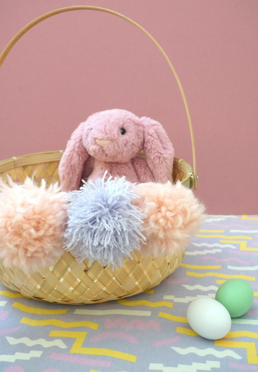 DIY Easter basket with pink pom poms