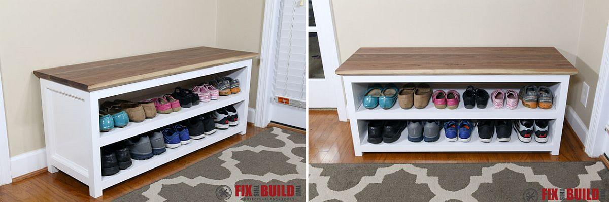 DIY entry shoe storage bench idea