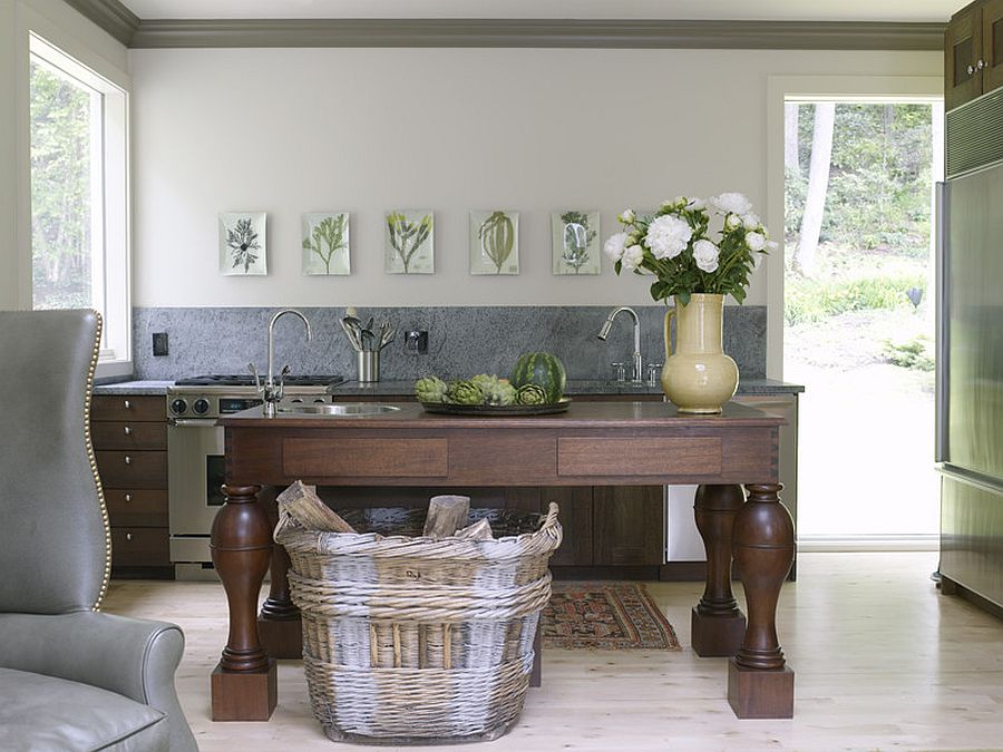 Eclectic New York kitchen with beautiful botanicals in the backdrop