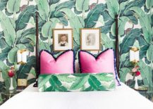 Eclectic-bedroom-with-tropical-style-and-leafy-wallpapered-backdrop-217x155
