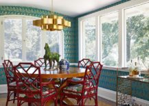 Eclectic-dining-room-with-red-chairs-gold-dining-table-and-chandelier-217x155