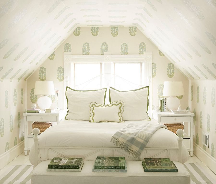 Fabulous and cozy attic bedroom in white with a touch of green!