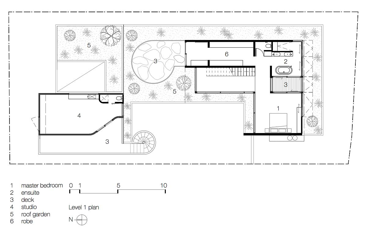 First level floor plan of Torquay Concrete House
