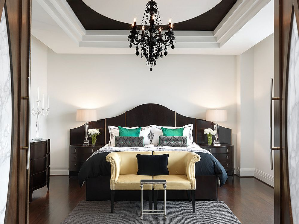 Gorgeous black chandelier steals the show in this contemporary bedroom
