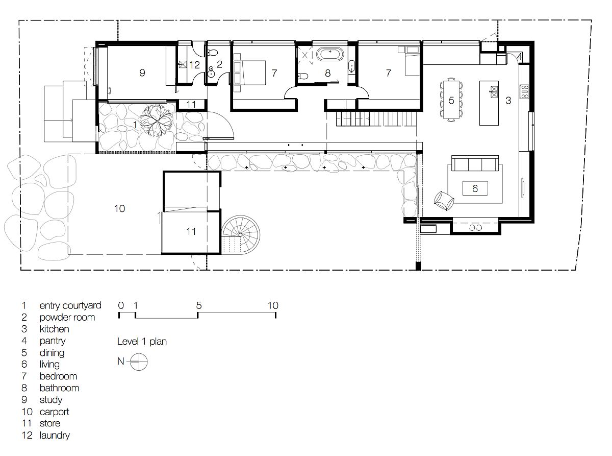 Ground floor plan of the Torquay Concrete House