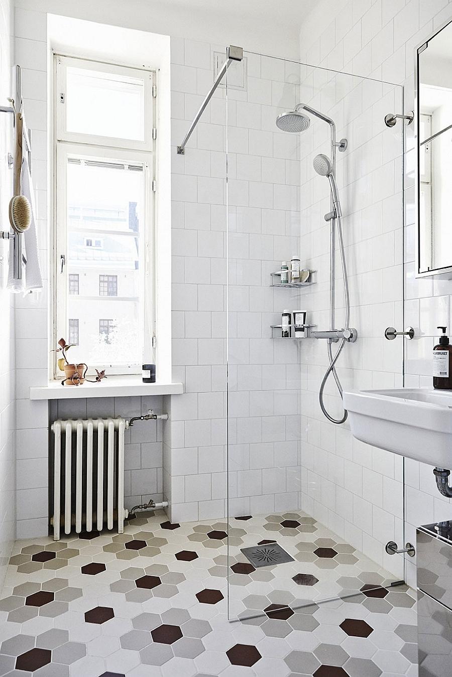 Hexagonal floor tile for the Scandinavian bathroom