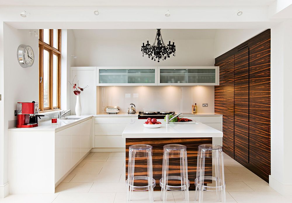 Ingenious use of black chandelier in the kitchen in white