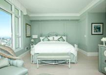 Lovely-monochromatic-bedroom-in-pastel-green-217x155