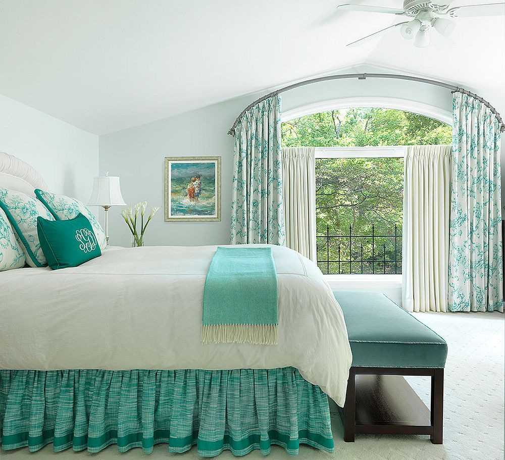 Spring 2018 bedroom decorating trends serene green and sparkly