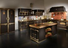 Mediterranean-style-kitchen-in-gold-and-black-with-copper-and-tiles-backsplash-217x155