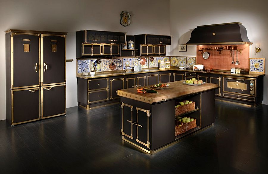 Mediterranean style kitchen in gold and black with copper and tiles backsplash