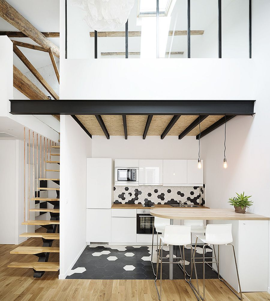 Metal adds contrast to the Scandinavian style kitchen