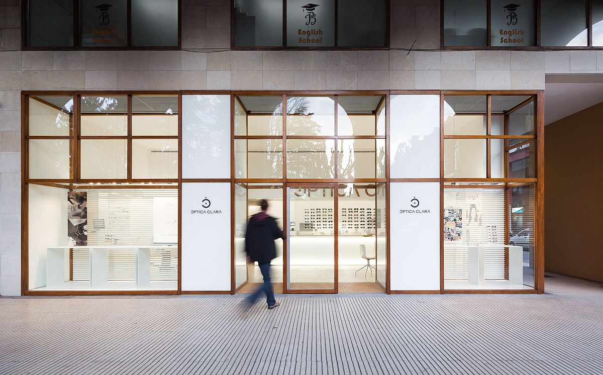 Minimal and classy facade of the Optic Store