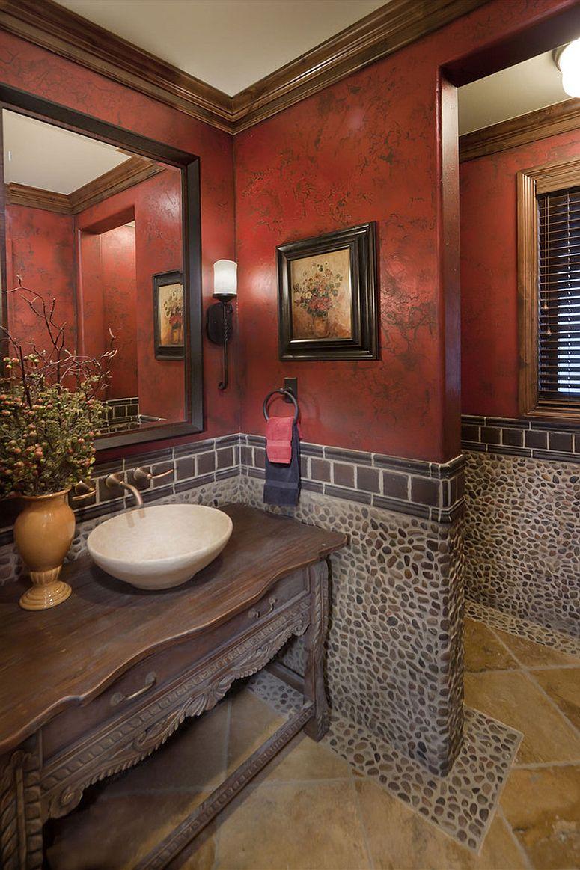 Modern Mediterranean powder room with a dash of red