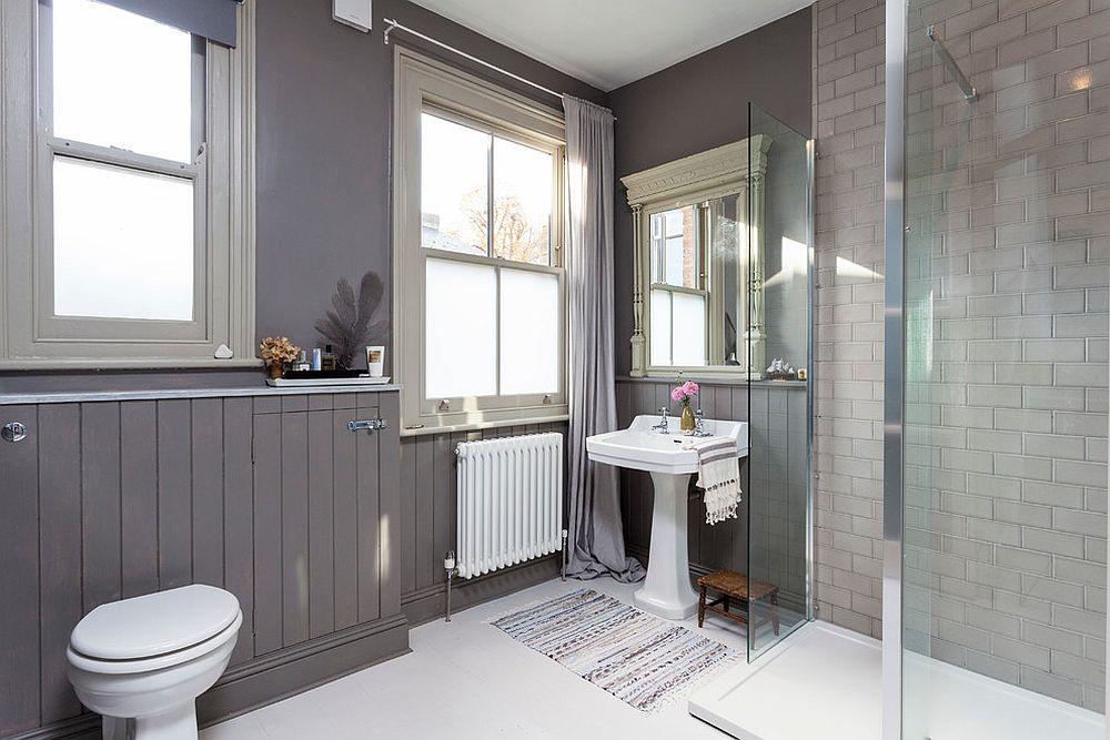 Modern Scandinavian style bathroom in gray