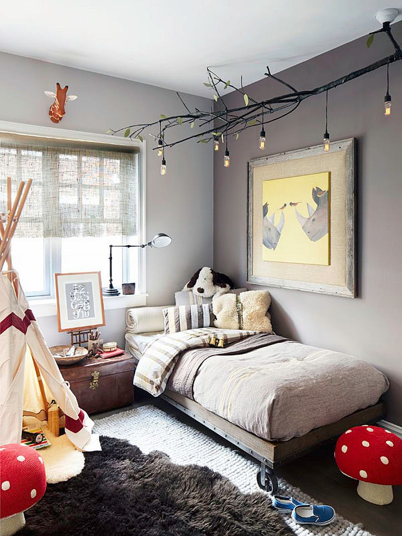 Modern eclectic kids' room with delightful lighting