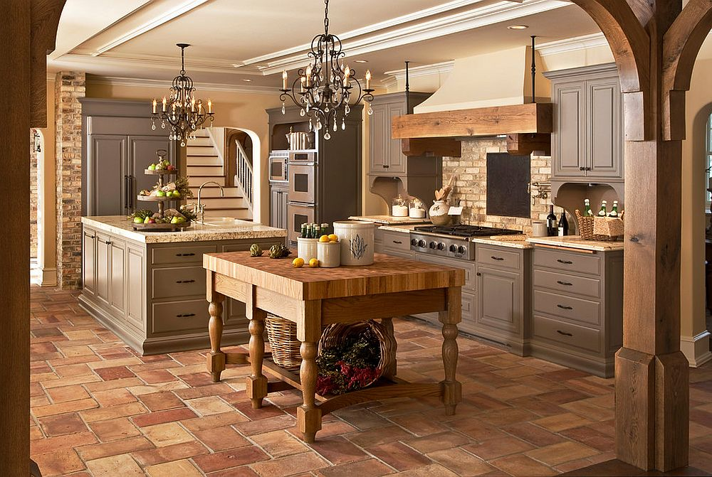 Modern rustic kitchen with twin chandeliers and islands