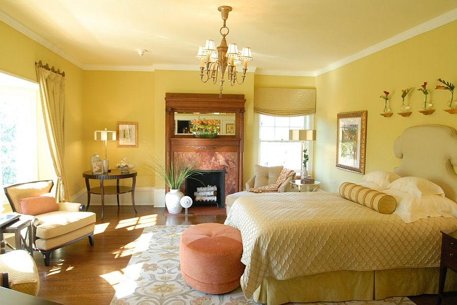 Modern traditional bedroom in yellow
