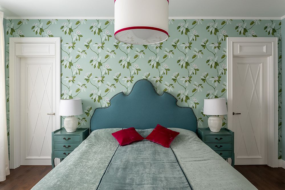 Nature-centric wallpapers shape a soothing, modern bedroom