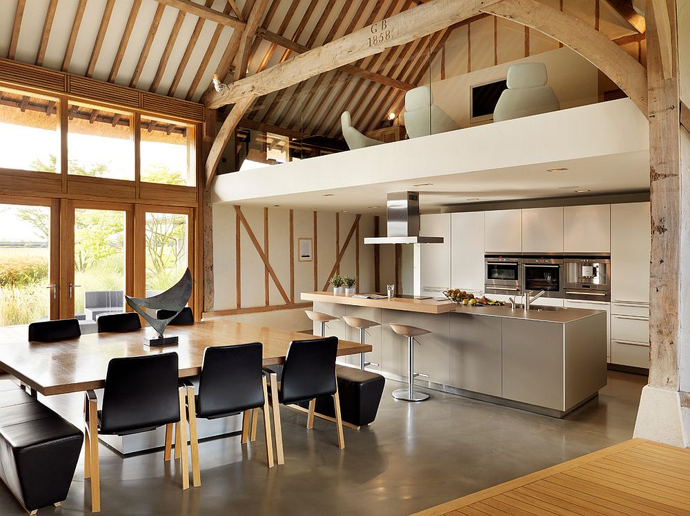 Old barns turned to modern homes are perfect spaces to try out the kitchen under the mezzanine level