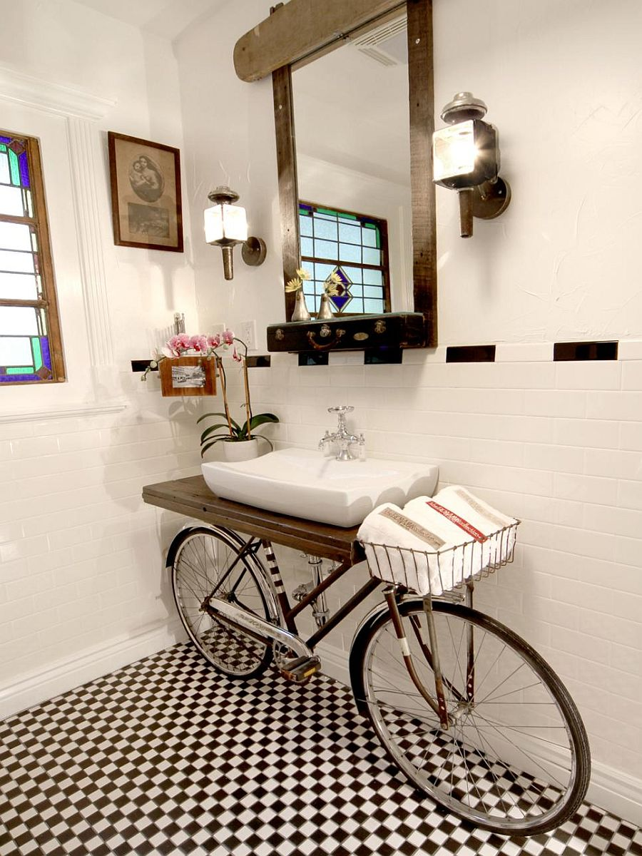 Old bike turned into one-of-a-kind vanity in the bathroom