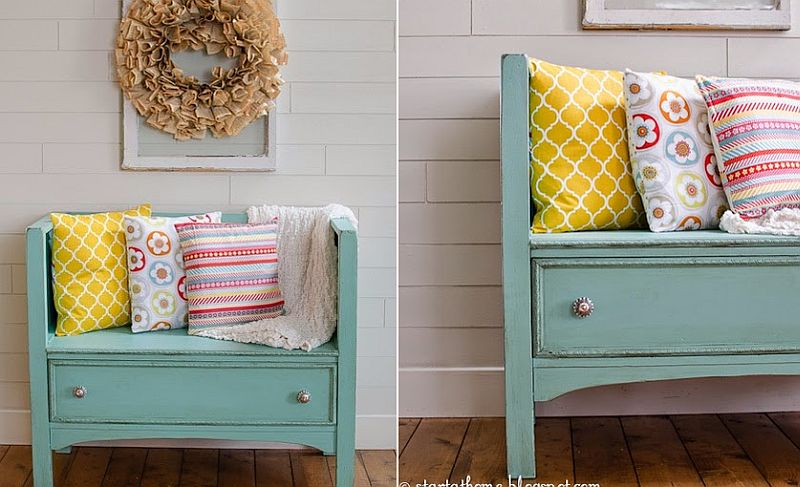 Old dresser turned into a cool bench for the entryway