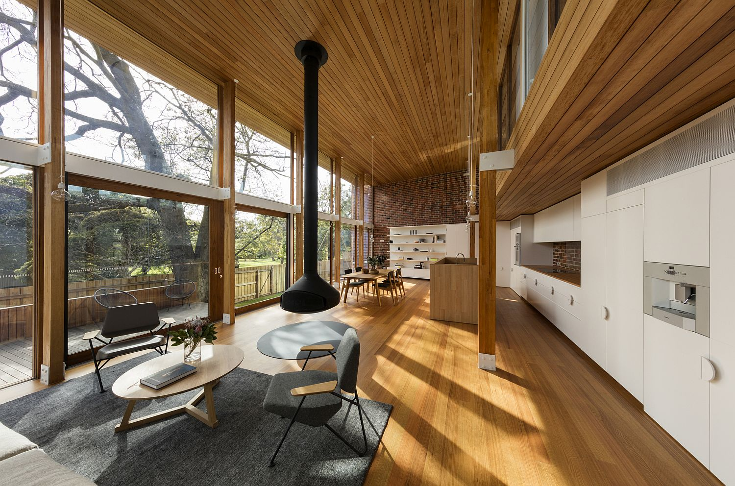 Open plan split-level living area of the Camberwell House
