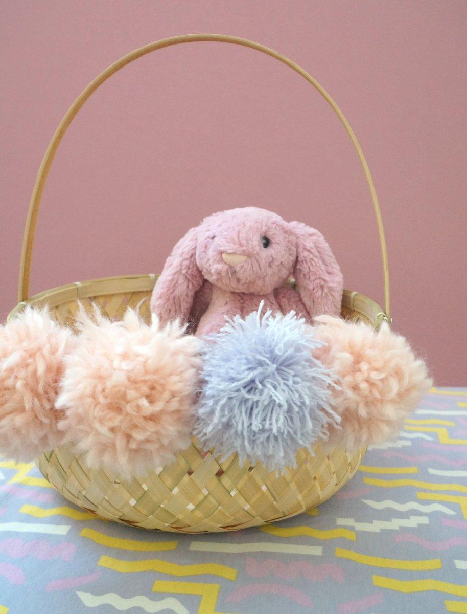 Pom pom Easter basket with a bunny