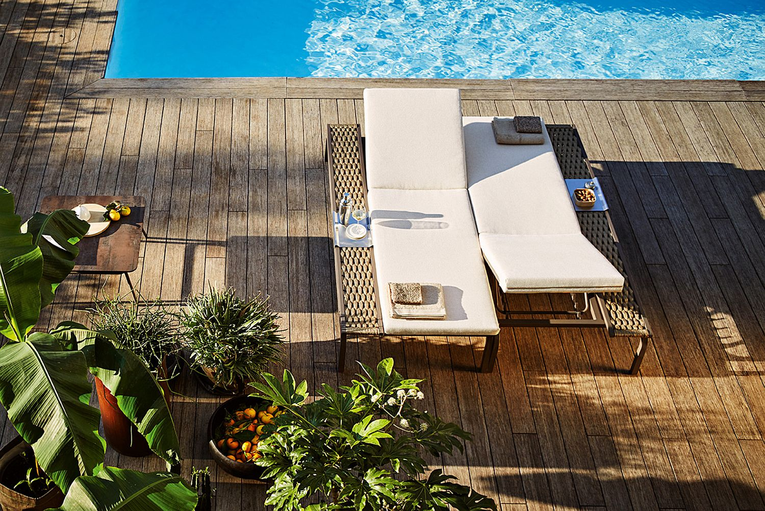 Portofino outdoor lounger on the deck from Roberti