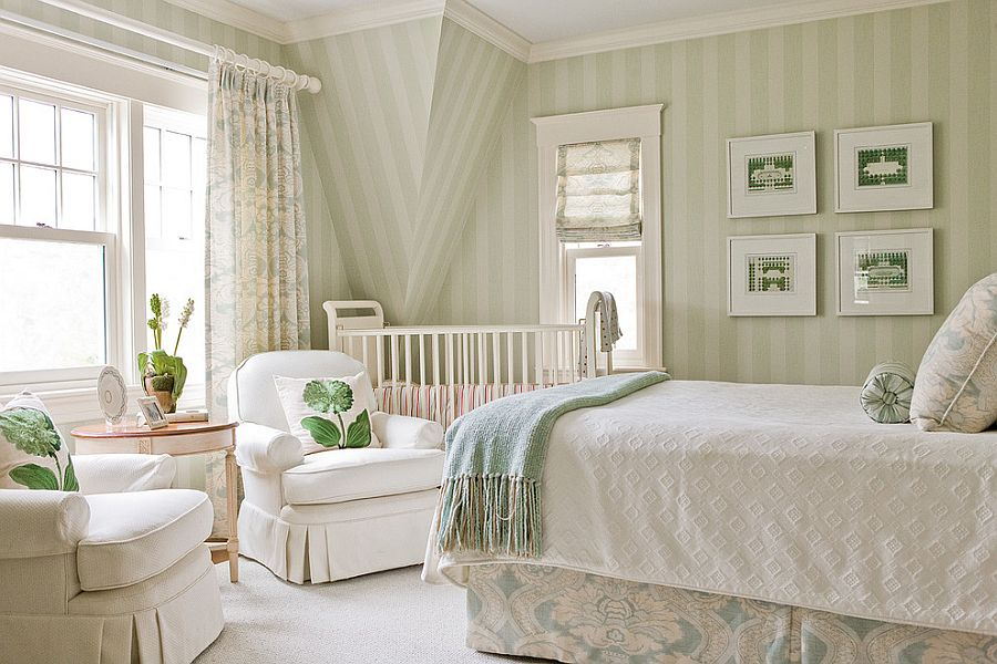 Relaxing bedroom uses cream and green stripes elegantly