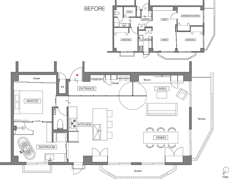 Revamped-floor-plan-of-modern-condo-in-Tokyo