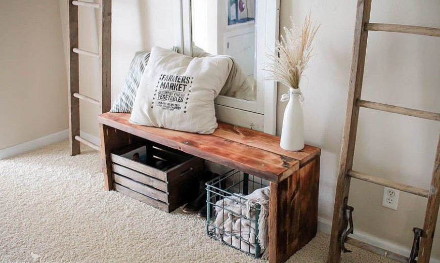 An Organized Welcome: DIY Entryway benches with Space-Savvy Brilliance