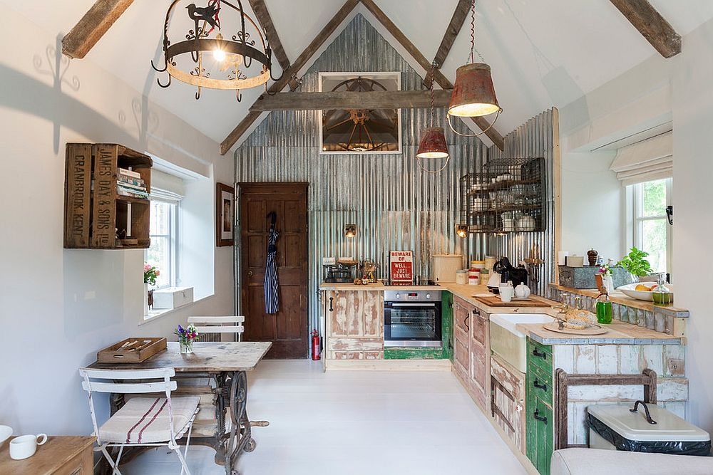Shabby chic style kitchen with varied textures and finishes