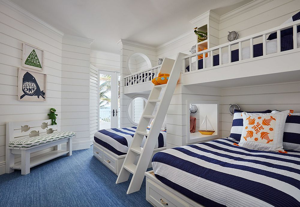 Shared kids' bedroom with bunk beds and relaxing beach style