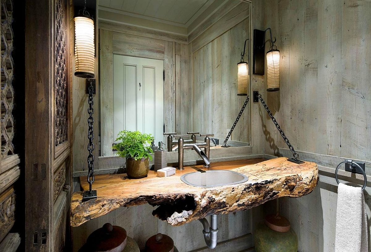 Slab of wood turned into a stunning vanity