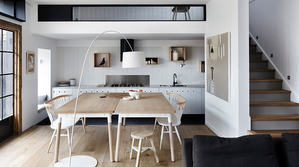 Small mezzanine with a single-wall kitchen below for the elegant Scandinavian home