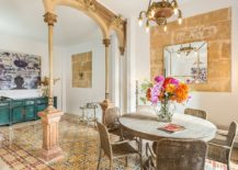 Smart-eclectic-dining-room-with-golden-yellow-glint-217x155