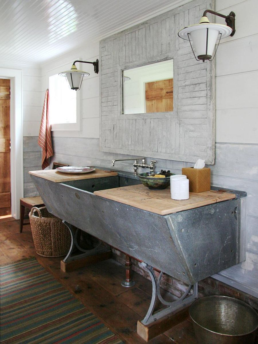 Soapstone cow trough turned into a gorgeous vanity
