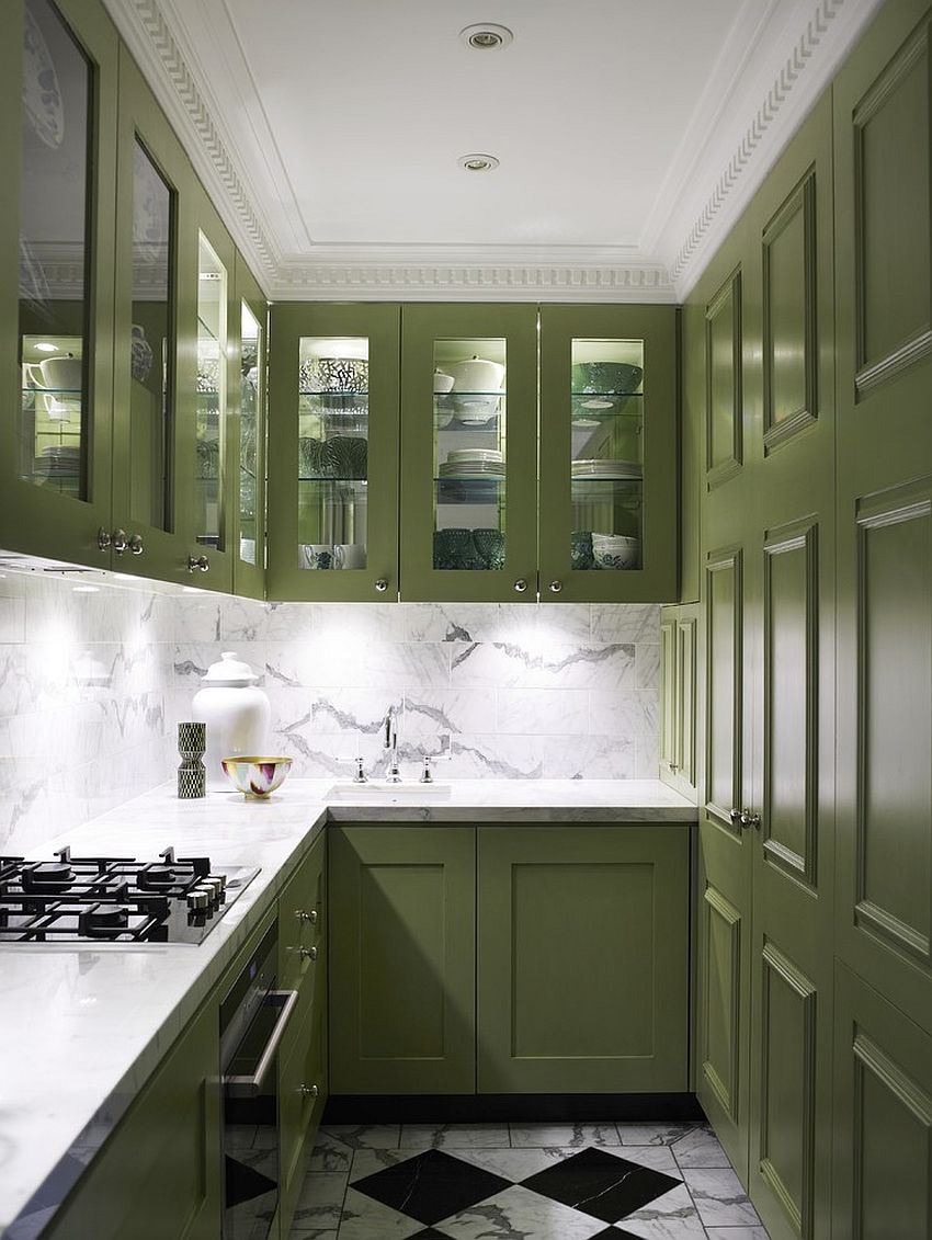 Space-savvy contemporary kitchen in white with gorgeous green cabinets