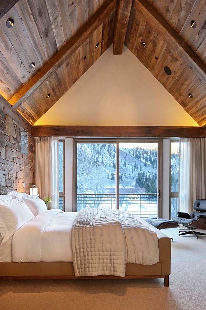 How to create the perfect modern rustic bedroom for Vaulted ceiling with exposed trusses
