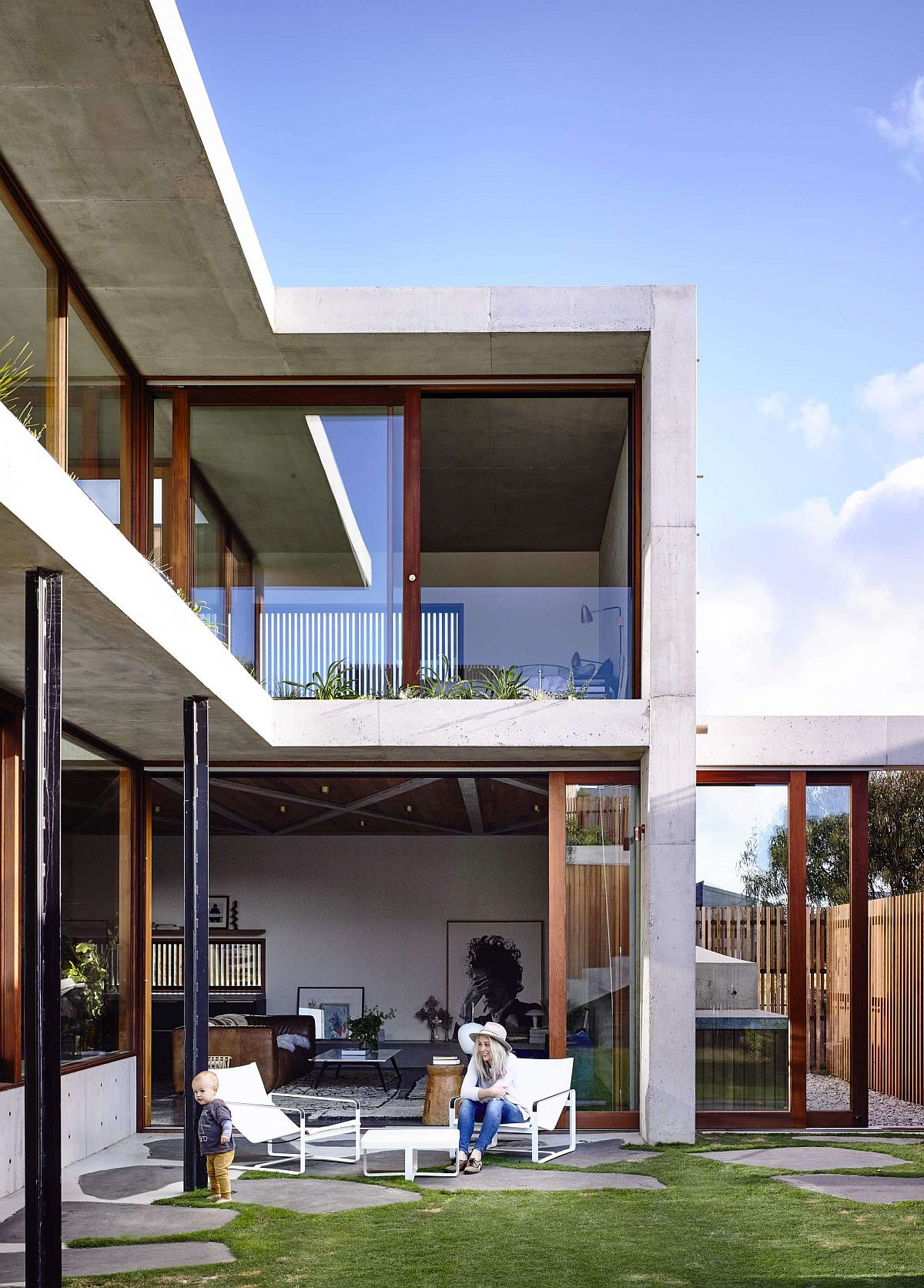 Structure of the house create a natural inviting garden