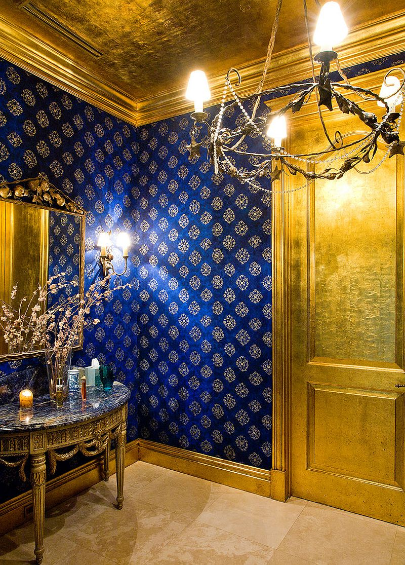 Stunning powder room in gold and blue amazing lighting