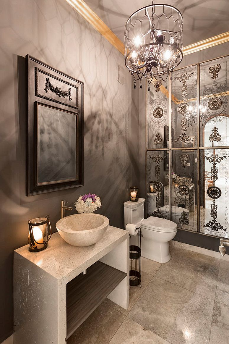 Stylish take on the classic Mediterranean style powder room