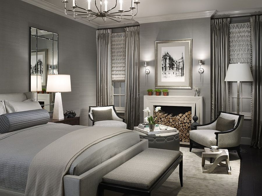 This monochromatic bedroom in gray is a perennial hit!