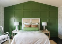 Transitional-bedroom-with-accent-green-wall-217x155