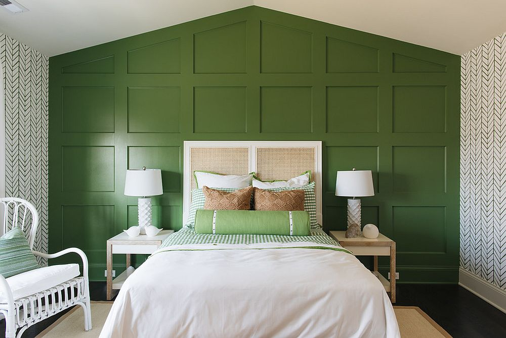 Transitional bedroom with accent green wall