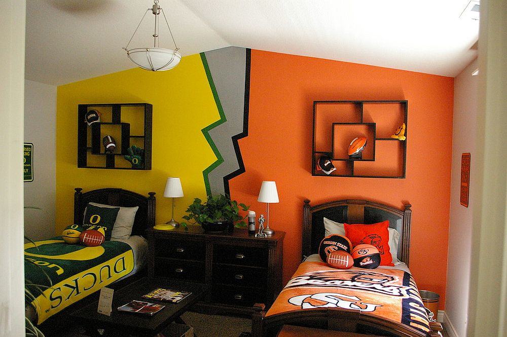 Two different color schemes for the shared kids' bedroom