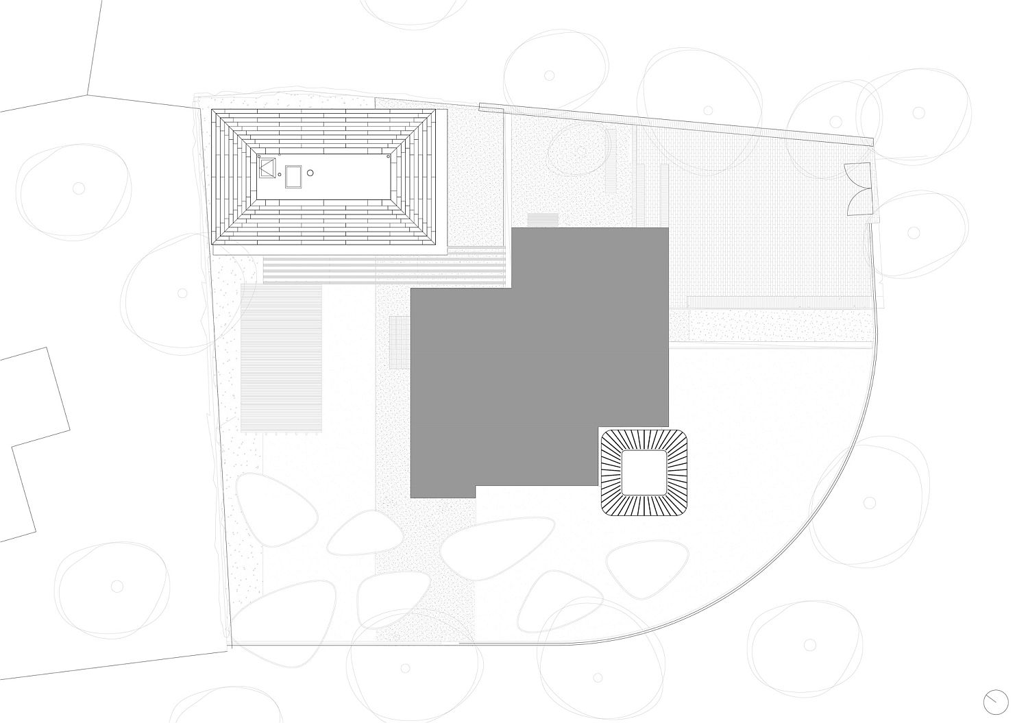 View of the plan for spacious ofice in the garden