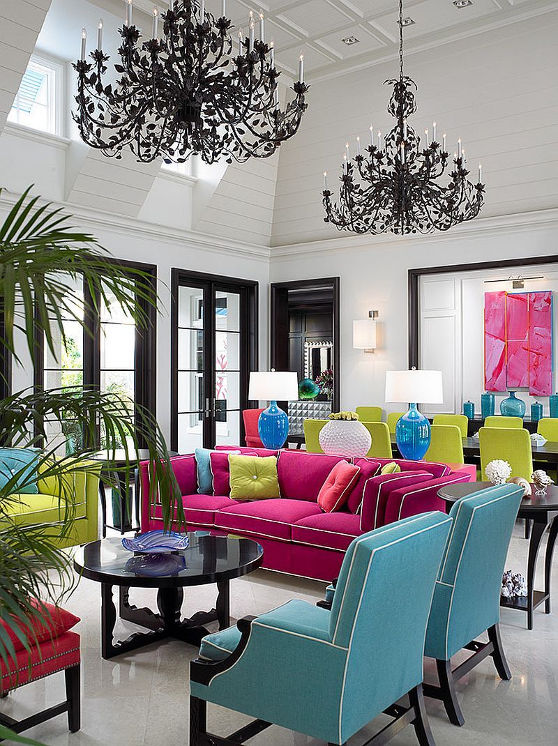 Vivacious tropical dining room full of color